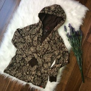 The North Face | Brown Floral V Neck Pullover Hood